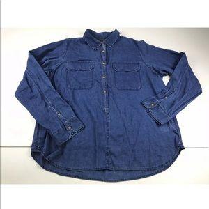 J Crew Blue Indigo Gauze Popover Shirt Top SZ 16